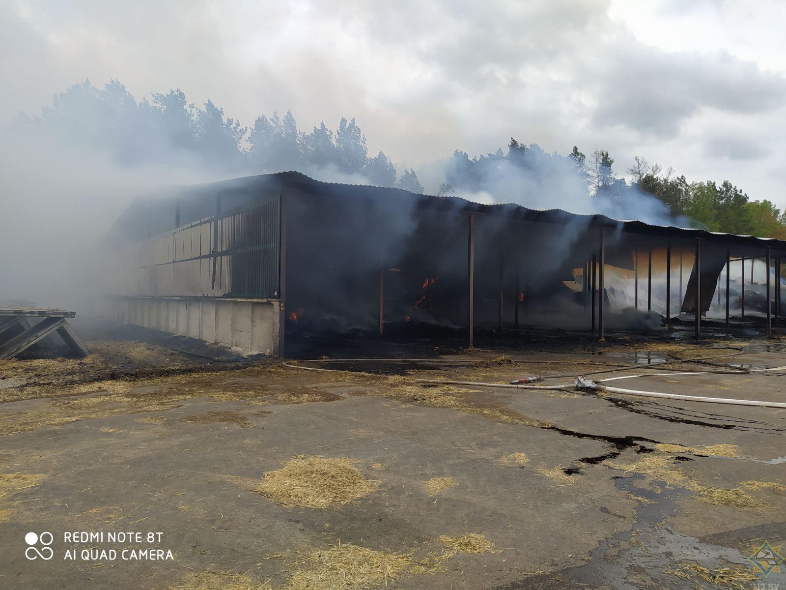 В деревне Большой Павлополь (это Малоритский район, если что) горел сеносклад