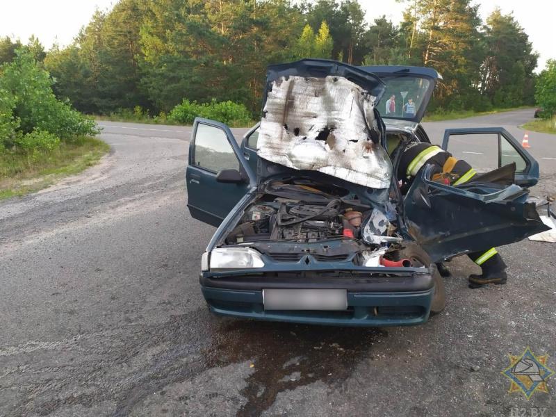 В Пинском районе спасатели деблокировали водителя «Рено», попавшего в ДТП